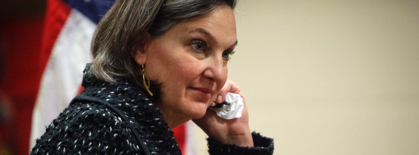 U.S. Assistant Secretary of State Victoria Nuland on the telephone